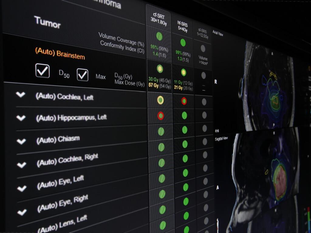 Результат оперативного анализа адъювантной радиохирургии, который наглядно отображается на экране с помощью значков в виде сигналов светофора