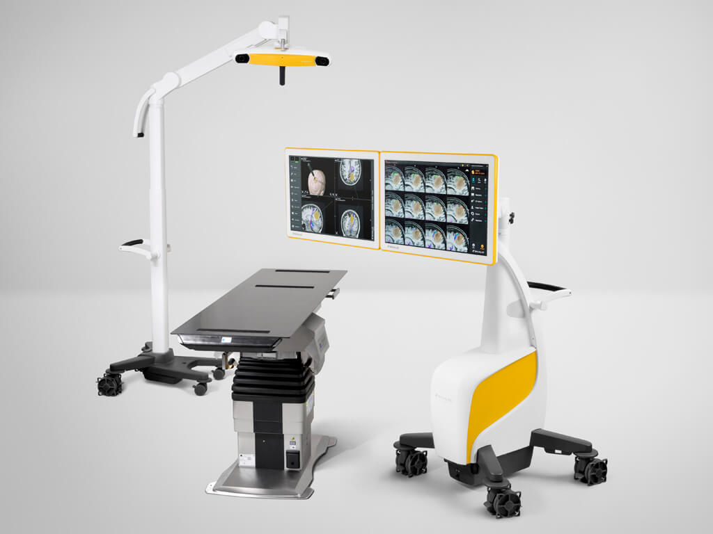 Surgeon controls both monitors in a space-saving footprint