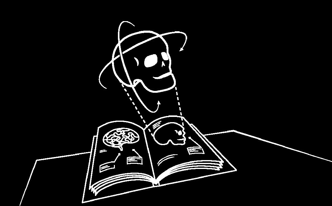 Esboço de crânio com a Realidade Mista da Brainlab