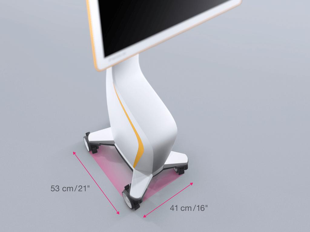 Kleine Stellfläche des Curve-Display-Carts