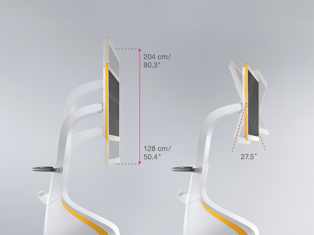 Adjustable height and tilt of Curve display