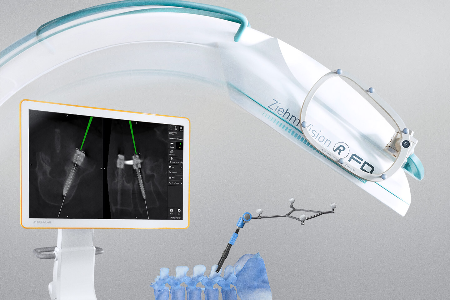 Spine and Trauma Navigation with automatic intraoperative image registration, e.g. with Ziehm Vision RFD 3D scans