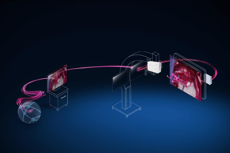 Pinkfarbene Datenströme fließen zwischen einer Computerdarstellung eines Server-Icons, eines Endoskops, eines Mikroskops und eines chirurgischen Navigationssystems, um die Integration dieser Systeme zu verdeutlichen.