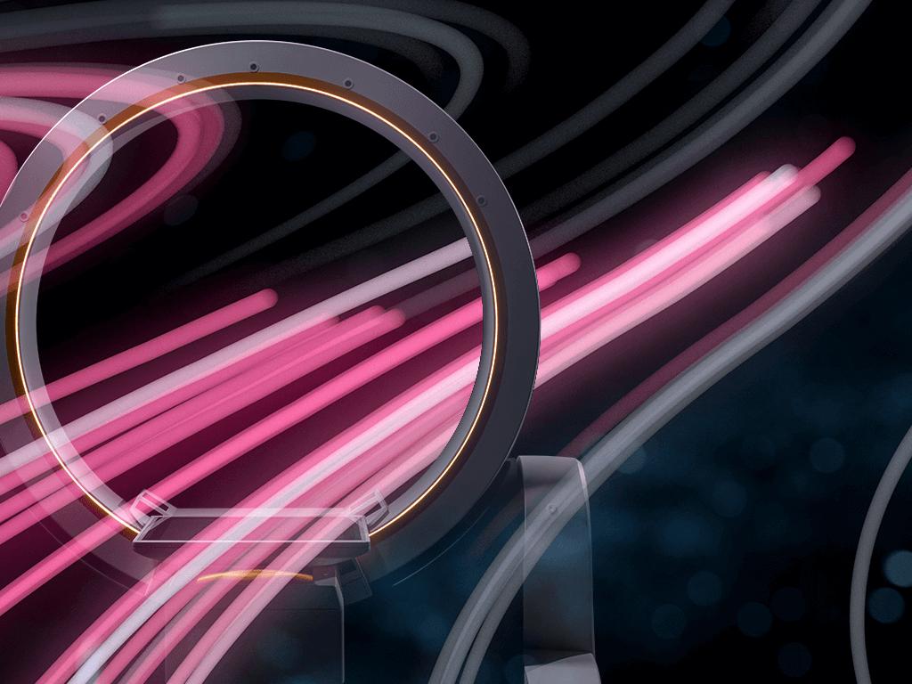 Líneas rosas de flujo de datos que pasan por el gantry de un Loop-X, robot móvil de adquisición de imágenes
