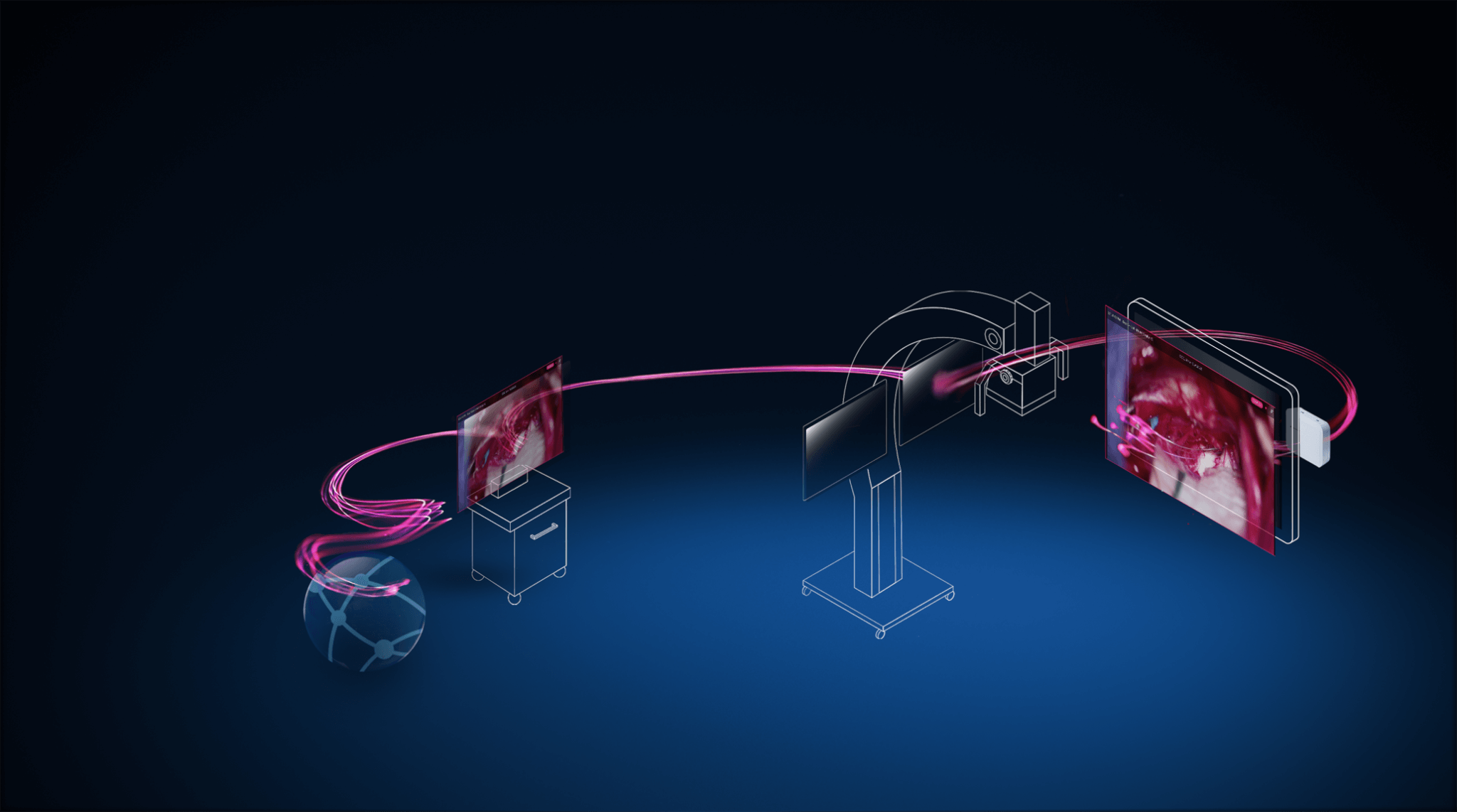Pink streams travel between a computer rendering of a server icon, an endoscope, a microscope and surgical navigation system indicating integration of these systems.